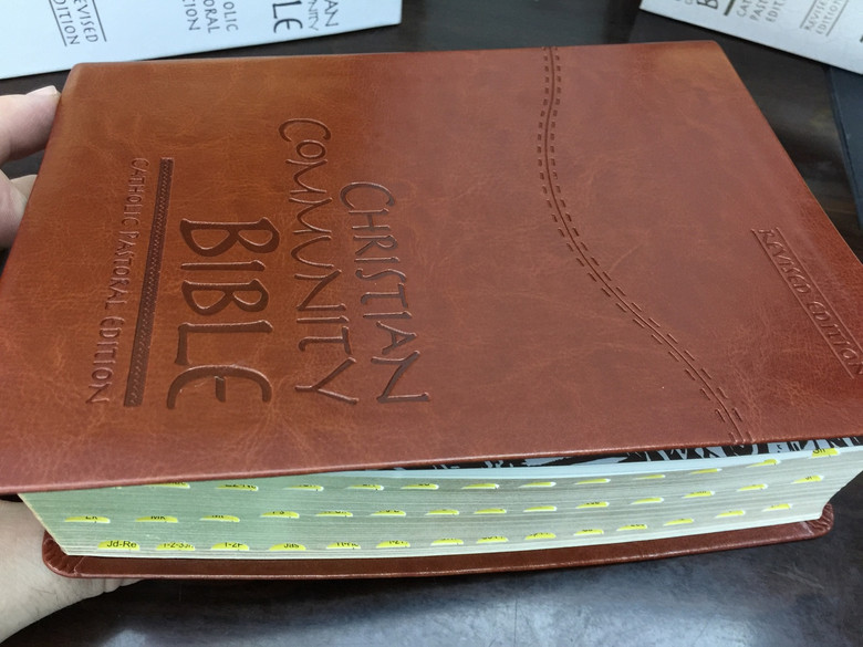 Christian Community Bible with Study Notes / Luxury Brown Leather Bound / LARGE PRINT