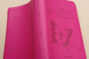 Beautiful Pink German Modern Bible for Girls - Die Bible / Hoffnung Für Alle with butterfly on cover / Luxury Silver Edges / 2012 Print