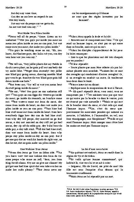 Hawaiian Pidgin Creole - French Bilingual New Testament / Hawaii Pidgin /  La Bible du Semeur / Island of Hawaii / France