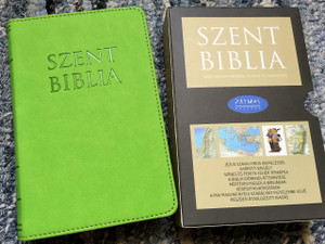 Hungarian Holy Bible, Apple Green Leather bound with Golden Edges / Mini Szent Biblia Alma Zöld / Words of Christ in Red / Maps / Jézus szavai piros kiemeléssel / Purse Small Size