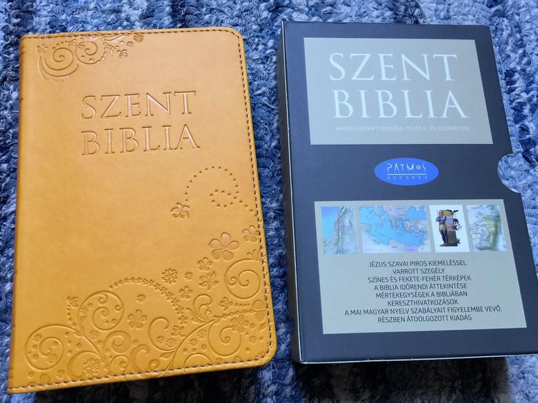 Holy Bible / Szent Biblia / Károli Gáspár / Small size / Sun Yellow Imitation Leather binding / Napsárga / Golden Edges / Words of Christ in Red / Maps & Timeline / Jézus szavai piros kiemeléssel / Térképek és idővonal (9786155526596)