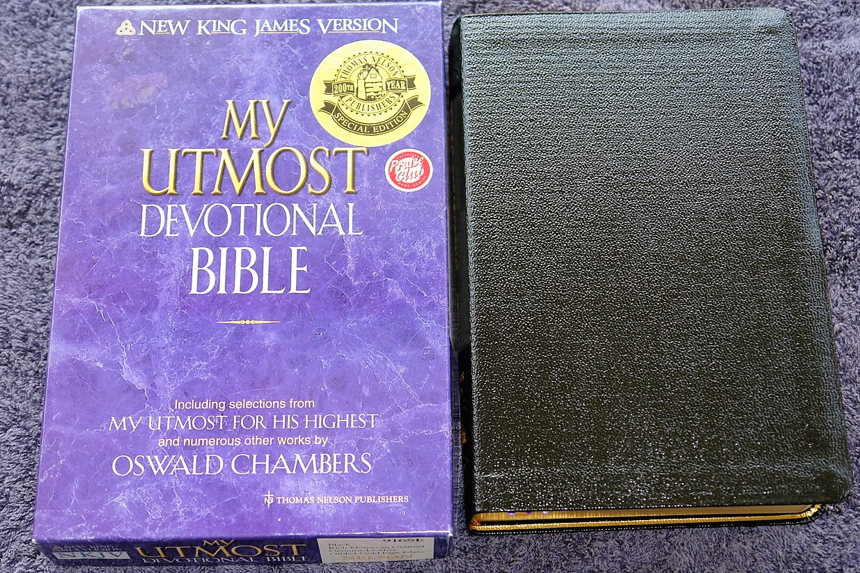 495243041c4 My Utmost Devotional Bible NKJV   Black Genuine Hand Crafted Leather ...
