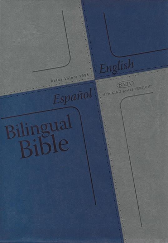 Bilingual Bible (Spanish Reina-Valera 1995 and English NKJV) / Blue Cover / English and Spanish / USA