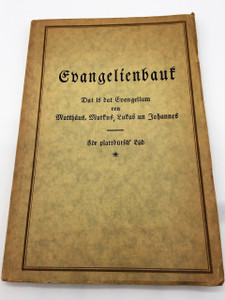 Plautdietsch language Four Gospels 1928 Historical Berlin Print / Die 4 Evangelien in Plattdeutsch / Mennonite Low German, is a Low Prussian dialect of East Low German with Dutch influence that developed in the 16th and 17th centuries