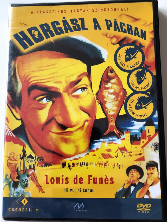 Horgász a pácban DVD 1958 Ni vu, ni connu / Louis de Funes, Nolle Adam, Moustache / Region 2 PAL DVD / No English optioins / French and Hungarian Audio Options / One of the first important roles of Funes, verry funny / Directed by Yves Robert (5999883749258)