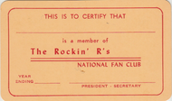THE ROCKIN' R'S NATIONAL FAN CLUB MEMBERSHIP CARD