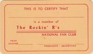 THE ROCKIN' R'S NATIONAL FAN CLUB MEMBERSHIP CARD