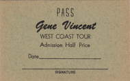 GENE VINCENT WEST COAST TOUR PASS