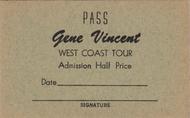 GENE VINCENT WEST COAST TOUR PASS