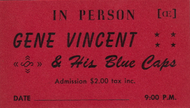 GENE VINCENT AND HIS BLUE CAPS IN PERSON TICKET STUB
