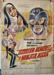HURACAN RAMIREZY LA MONJITA NEGRA Mexican wrestling movie poster