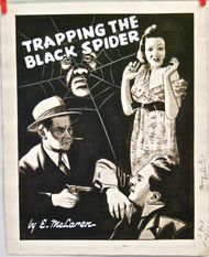 ORIGINAL ART 1940s Crime mag cover Trapping The Spider