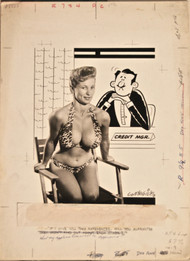 ORIGINAL ART 1950s Burlesque mag cartoon If I Give You 2 References...