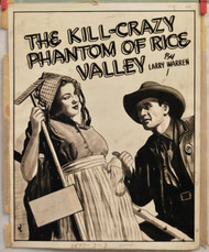 ORIGINAL ART 1940s Crime mag cover The Kill-Crazy Killer Of Rice Valley