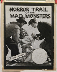 ORIGINAL ART 1940s Crime mag cover Horror Trail Of The Mad Monsters