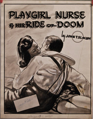 ORIG ART 40's crime mag cover  Playgirl Nurse & Her Ride To Doom