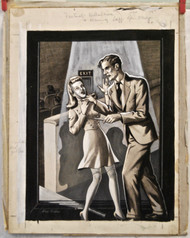 ORIGINAL ART 1940s Factual Detective Mag cover signed Alex Fidderis