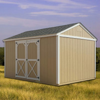 Shown in the 10' x 12' size with painted Tan siding, painted White trim, and Weatherwood Shingle roof.