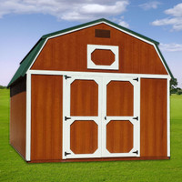 Shown in the 12' x 16' size with Cedar Urethane siding, painted White trim, and Hunter Green metal roof.