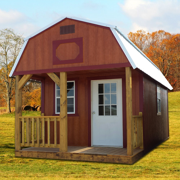 Shown in the 10' x 20' size with Cedar urethane siding, Rustic Red painted trim, and Galvalume metal roof.