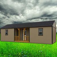 Shown in the 12' x 30' size with Taupe painted siding, Black painted trim, and Black shingle roof.