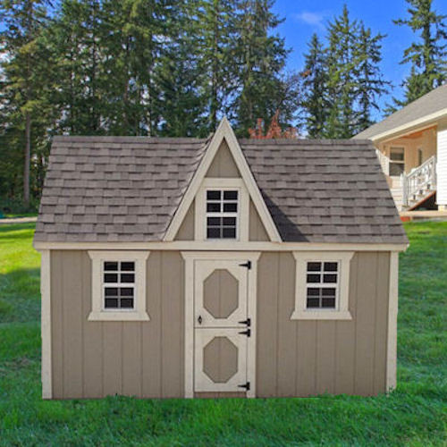 Shown in the 10x12 size with Taupe painted siding, White painted trim, and Weatherwood shingle roof.
