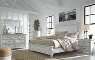 Kanwyn Whitewash 5 Pc. Dresser, Mirror & King Panel Bed