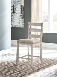 Skempton White/Light Brown Upholstered Barstool (2/CN)