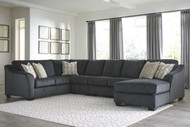 Eltmann Slate LAF Sofa with Corner Wedge, Armless Loveseat, Armless Chair & RAF Corner Chaise Sectional