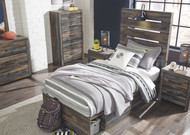 Drystan Multi Dresser, Mirror, Twin Panel Bed with Storage & 2 Nightstands