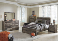 Derekson Multi Gray Full Panel Bed with Storage, Dresser, Mirror, Chest & Nightstand