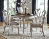 Realyn Chipped White 5 Pc. Oval EXT Table & 4 UPH Side Chairs