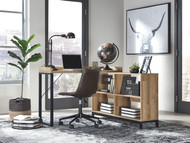 Gerdanet Light Brown L-Shaped Home Office Desk with Swivel Chair