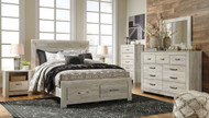 Bellaby Whitewash 7 Pc. Dresser, Mirror, Chest & Queen Panel Storage Bed