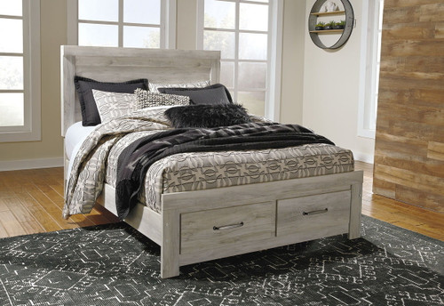 The Bellaby Whitewash Queen Panel Storage Bed sold at Rose