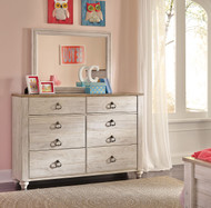 Willowton Whitewash Kids Dresser & Mirror
