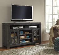 Gavelston Large TV Stand with Fireplace Option: Black