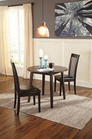 Hammis Round Dining Room Drop Leaf Table: Dark Brown