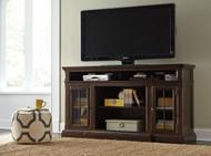 Roddinton Dark Brown XL TV Stand with Fireplace Option