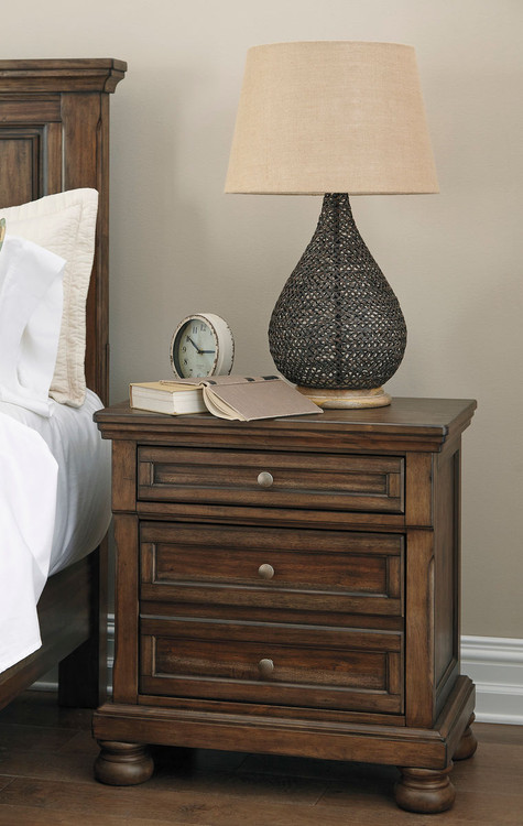 0fbf75b48a77 The Flynnter Medium Brown Two Drawer Night Stand sold at Rose Brothers  Furniture serving Wilmington and Jacksonville