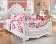 Exquisite White Full Padded Poster Bed