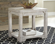 Fregine White Wash Rectangular End Table