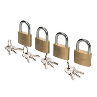 Silverline 40mm Keyed-Alike Brass Padlocks - Pack of 4