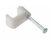 Flat White Cable Clips - Pack of 100