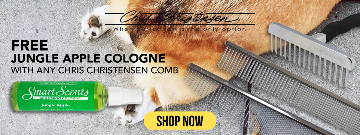 Free Jungle Apple Cologne with any Chris Christensen Comb