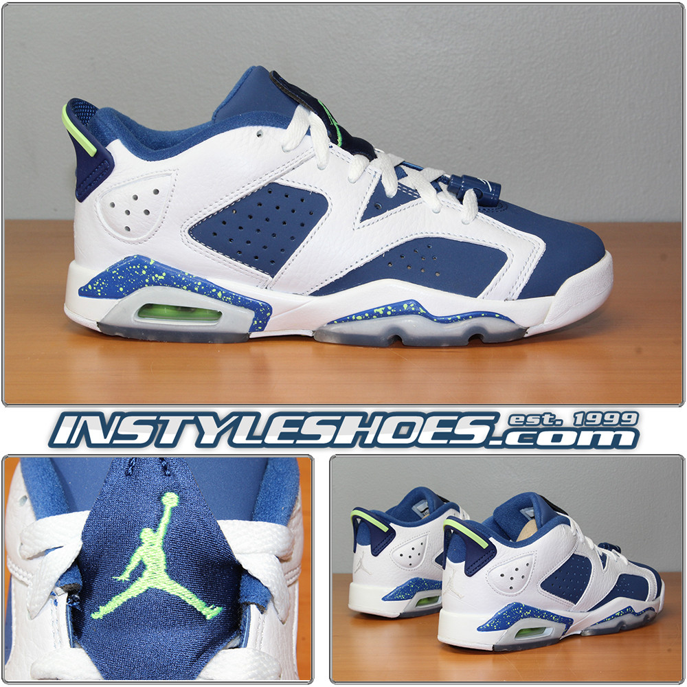 66f686f545e3d5 Air Jordan 6 Low GS Seahawks 768881-106