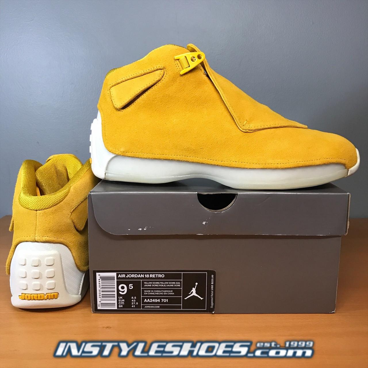 25f268e715d4fb Air Jordan 18 Yellow Ochre AA2494-701. Larger   More Photos