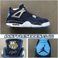 Air Jordan 4 Marquette PE Navy / Lt. Blue