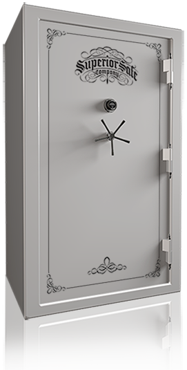 Superior Master 50 Gun Safe in Platinum with black chrome and standard handle