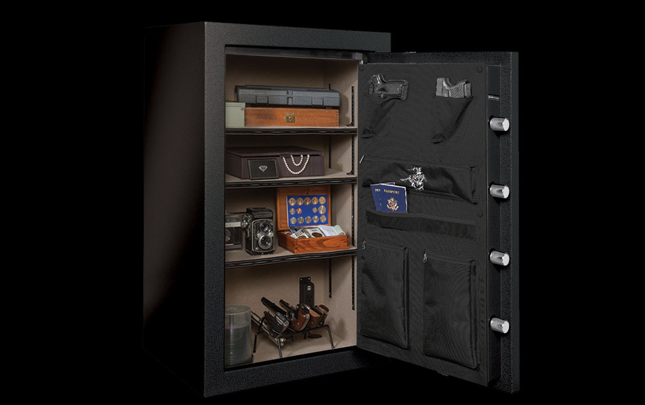 Winchester Home Safe, WH12 in Black with open door - 3 adjustable shelves